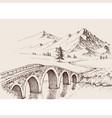 stone bridge over river in mountains alpine vector image vector image