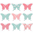 textile butterflies in pastel colors vector image vector image