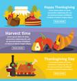 thanksgiving banner horizonatal set flat style vector image