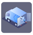 truck loaded with products isometric vector image