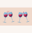 Two wine glasses cartoon