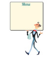 waiter restaurant menu vector image