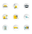 Warehouse icons set flat style vector image