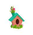 wooden bird box decorated with fresh spring vector image vector image
