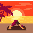 young full woman doing yoga on beach at sunset vector image vector image