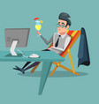 cartoon businessman relaxing with cocktail vector image