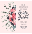 Wedding invitation with peonies vector image