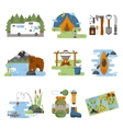 Set of camping equipment icons vector image