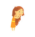 sick girl with long hair touching her head vector image