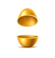 3d golden egg halves with sliced eggshell vector image vector image