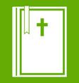bible icon green vector image vector image