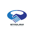 blue handshake logo vector image