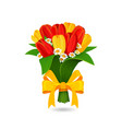 bouquet red yellow tulip with a yellow bow vector image