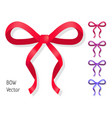 bow set isolated colors of present bows vector image vector image
