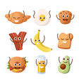 breakfast characters morning food with funny vector image