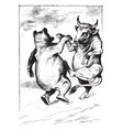 bull and cow dancing whole life vintage engraving vector image vector image