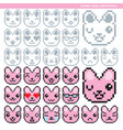 bunny pixel emoticons converted vector image