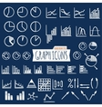 business charts hand draw style set thin line vector image