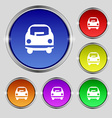 Car icon sign Round symbol on bright colourful vector image vector image