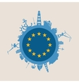 Cargo port relative silhouettes Europe flag vector image vector image