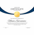 certificate template in elegant black and blue vector image vector image