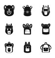 college backpack icon set simple style vector image