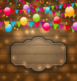 colorful balloons hanging flags on wooden texture vector image vector image