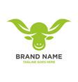 cow head leaf logo vector image