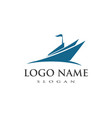 cruise ship logo template vector image vector image