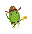 cute cactus cowboy funny plant character riding vector image vector image
