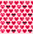 cute heart character seamless pattern background vector image