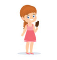 cute redhead girl with ice cream in her hands vector image vector image
