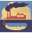 Factory building - air and soil pollution vector image vector image