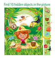 find 10 hidden objects in picture girl travels vector image