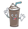 finger ice chocolate mascot cartoon vector image vector image