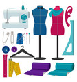 for tailor shop sewing tools vector image