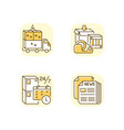 freight transportation yellow rgb color icons set vector image