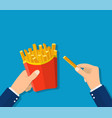 french fries in hands of men vector image