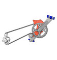 grey crank set for bike with blue pedals on white vector image