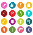 hairdresser icons set colorful circles vector image vector image