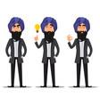 indian business man cartoon set vector image vector image