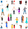 isometric dancing people characters seamless vector image