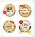 luxury premium sale golden badges and labels vector image vector image