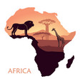 map of africa with the landscape of sunset in the vector image vector image