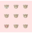 minimalistic flat bear emotions icon set vector image