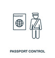 passport control icon outline thin line style vector image vector image