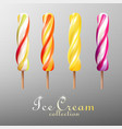realistic popsicles colorful ice cream set vector image vector image