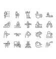 rehabilitation line icon set vector image