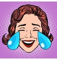 Retro Emoji tears of joy woman face vector image vector image