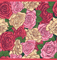 seamless hand drawn pattern with roses vector image vector image